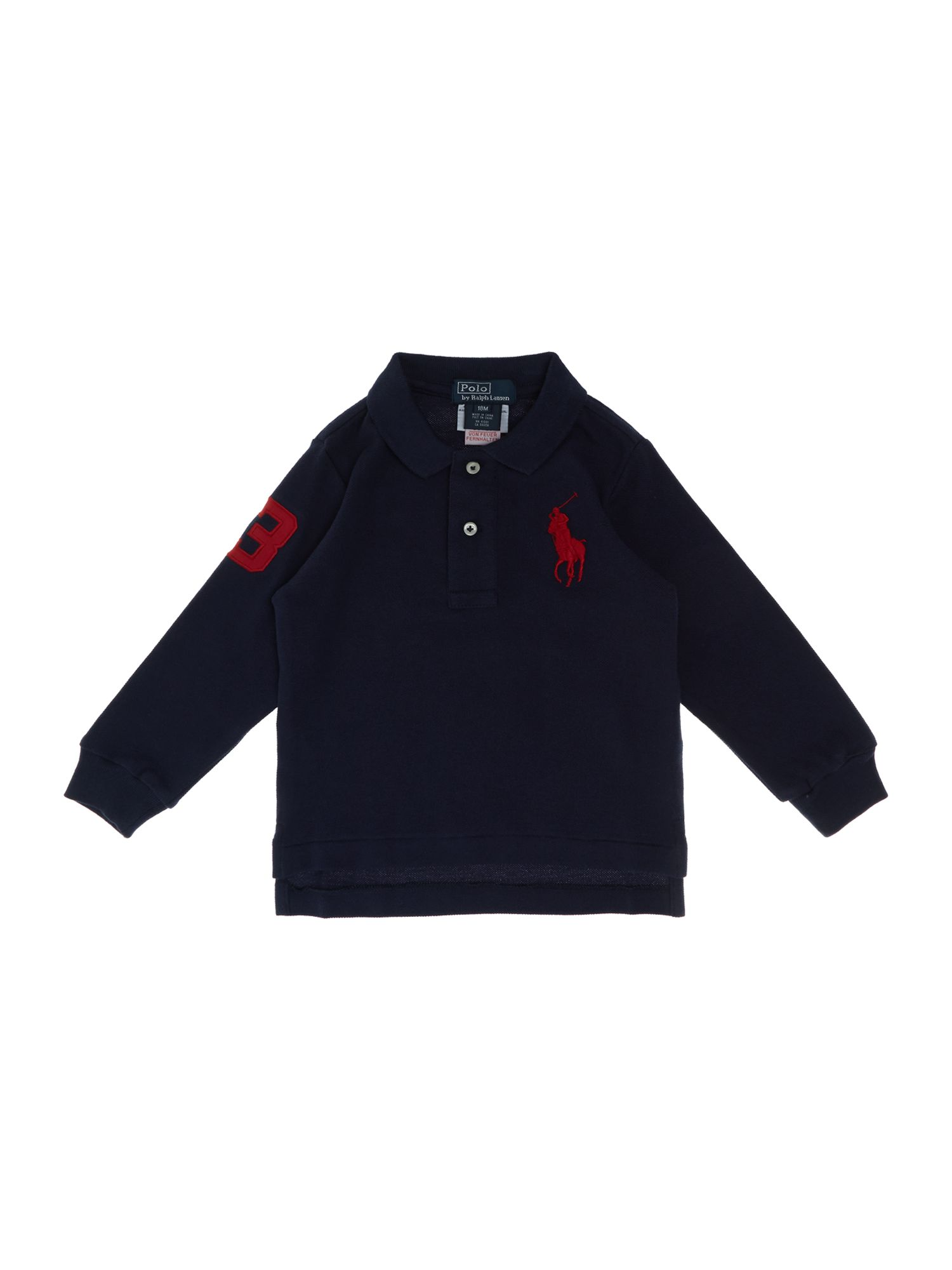 Boy`s large pony logo long sleeve polo shirt