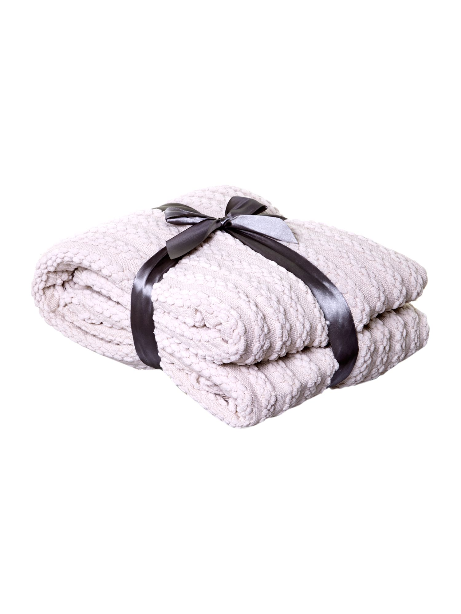 Cream paw stitch chenille throw