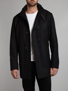 Wool blend funnel neck coat with chest pocket