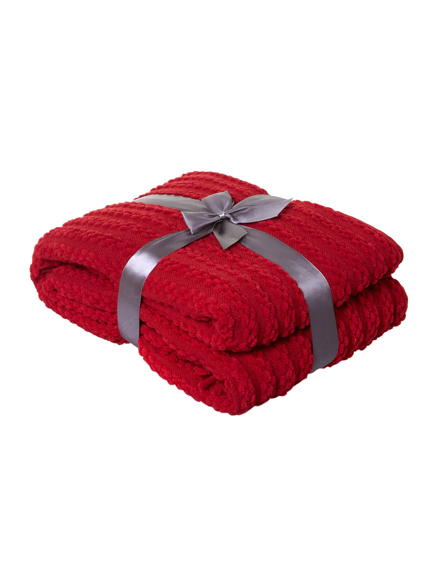 Red paw stitch chenille throw