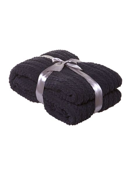 Linea Black paw stitch chenille throw