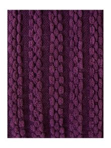Purple paw stitch chenille throw
