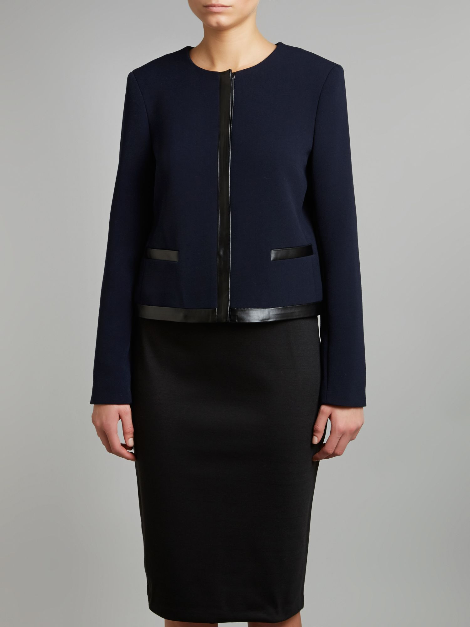 Collarless Trim Jacket