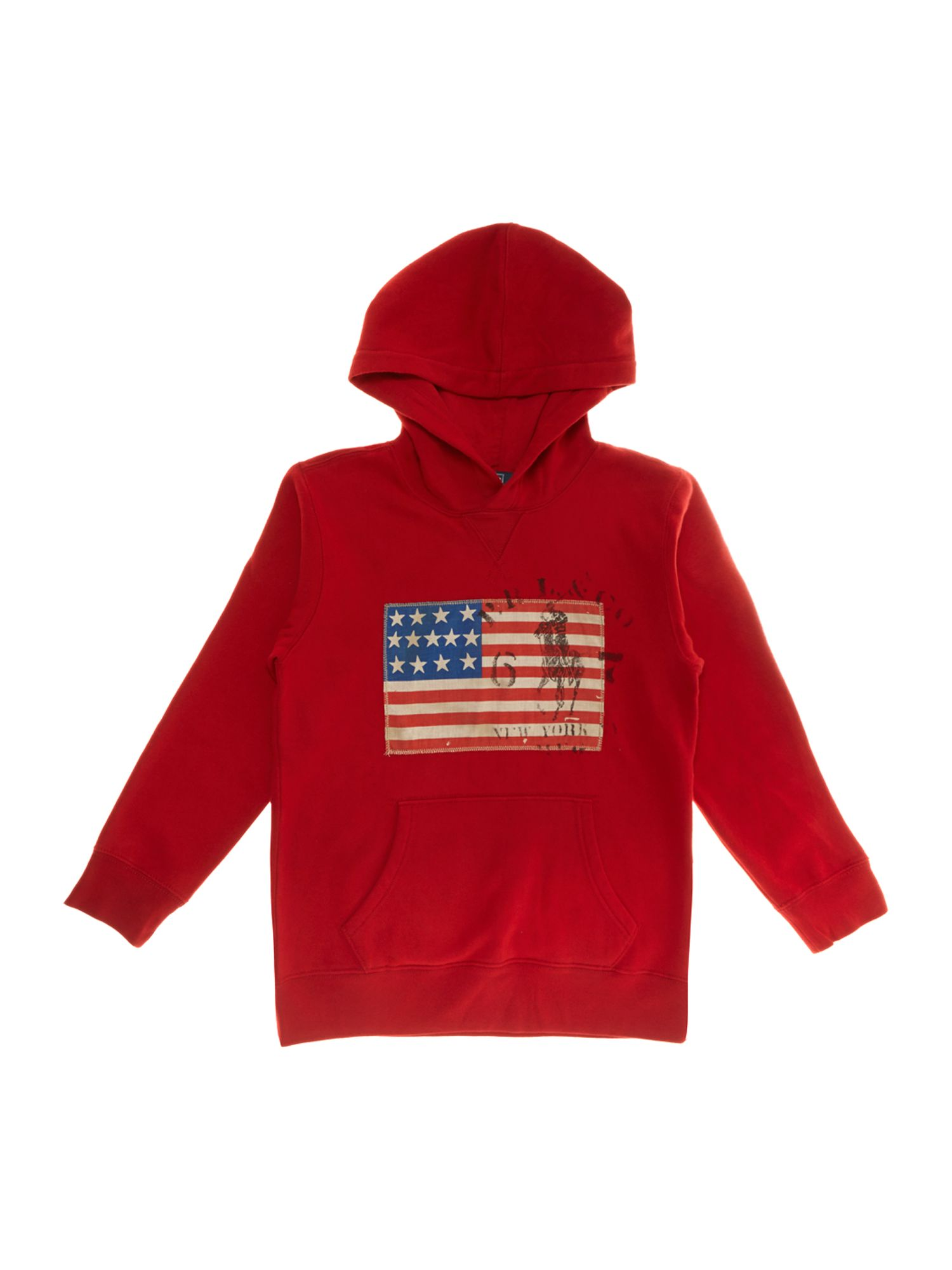 Boy`s USA flag applique hoody