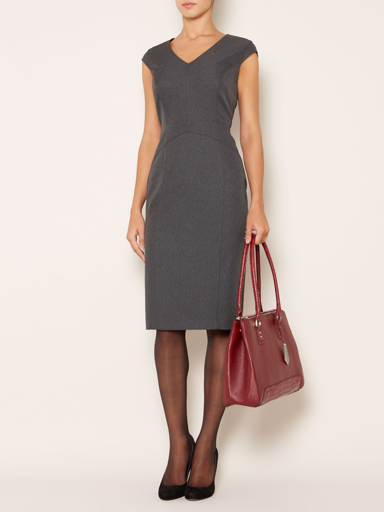 Scoop Neck Collar Below The Knee Charcoal Dress