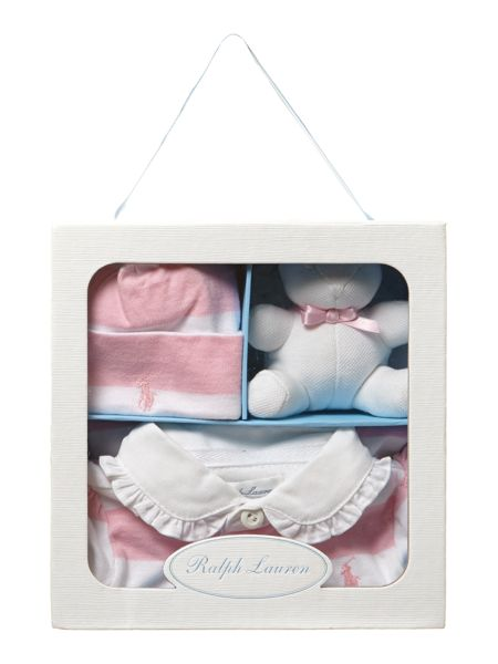 Polo Ralph Lauren Baby girl`s all-in-one, hat & teddy giftbox