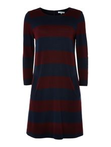 Ladies long sleeve stripe ponti shift dress