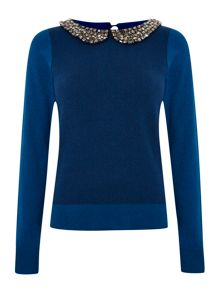 Ladies Bead Collar Jumper