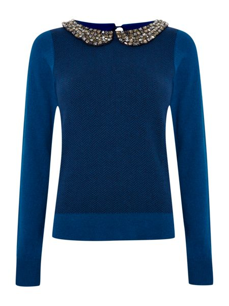 Dickins & Jones Ladies Bead Collar Jumper