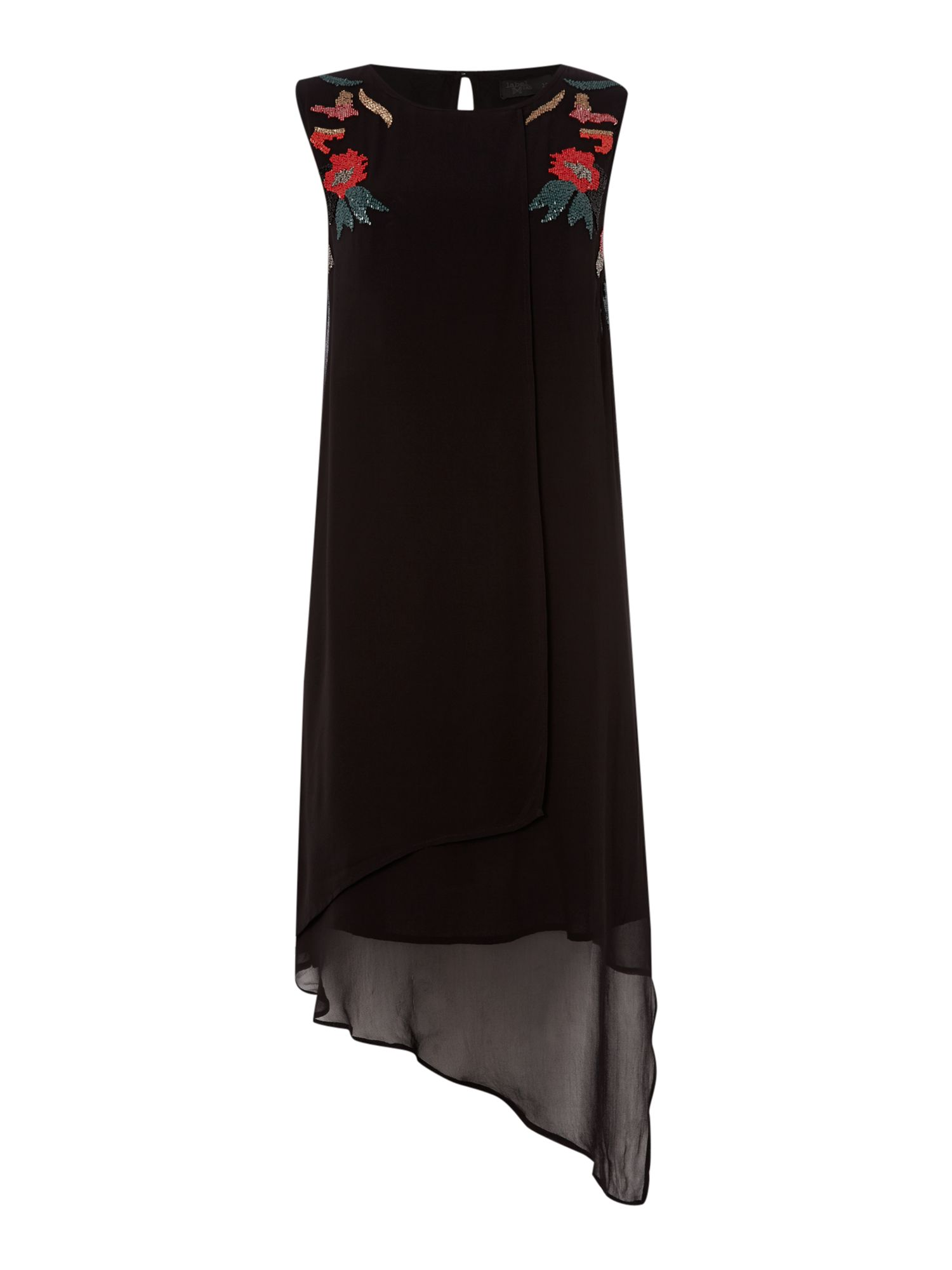 Beaded neckline layered asymmetric dress