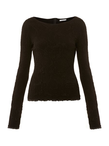 Marella Penna textured top with leather detail