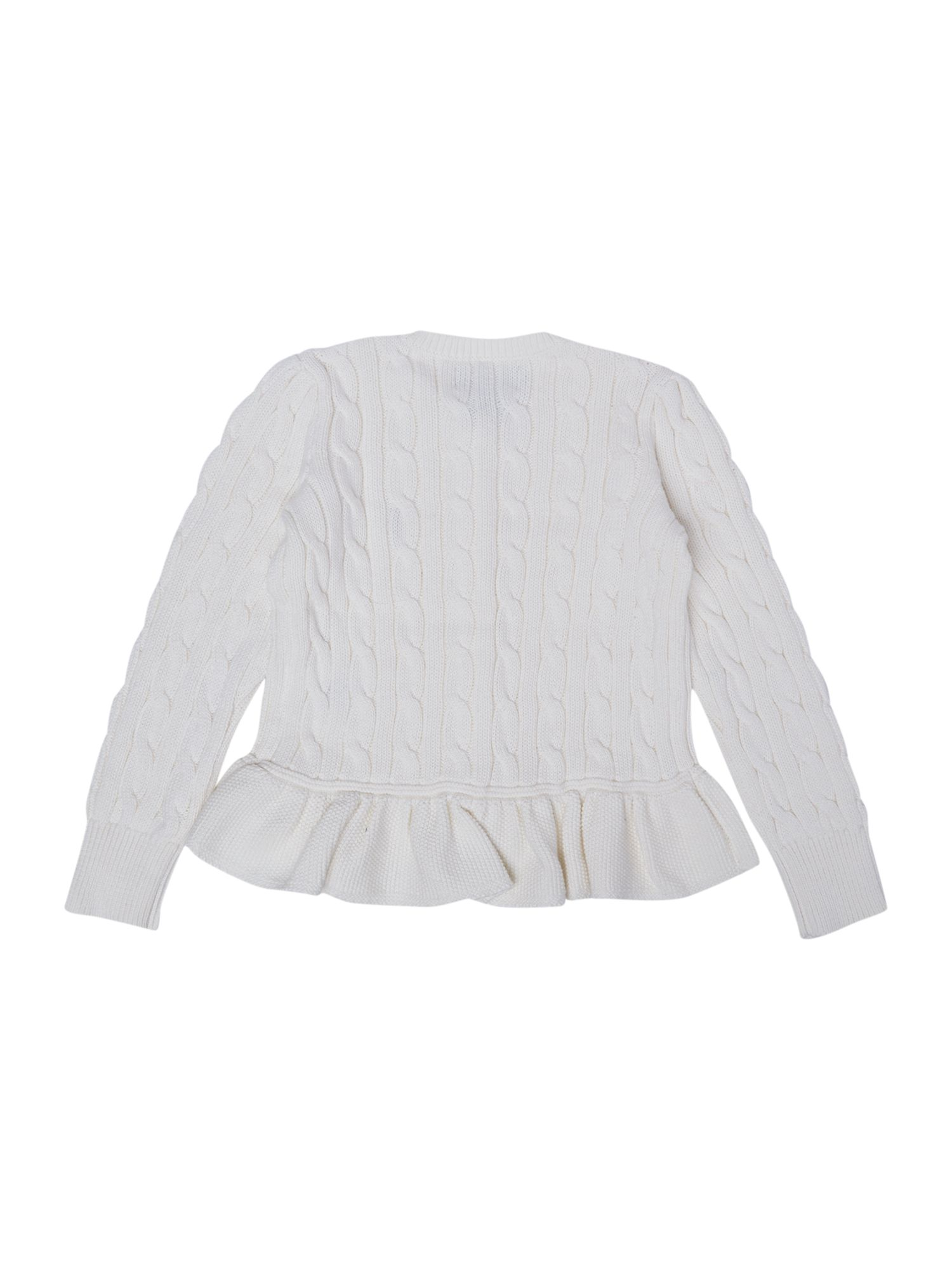 Girl`s peplum cable knit cardigan