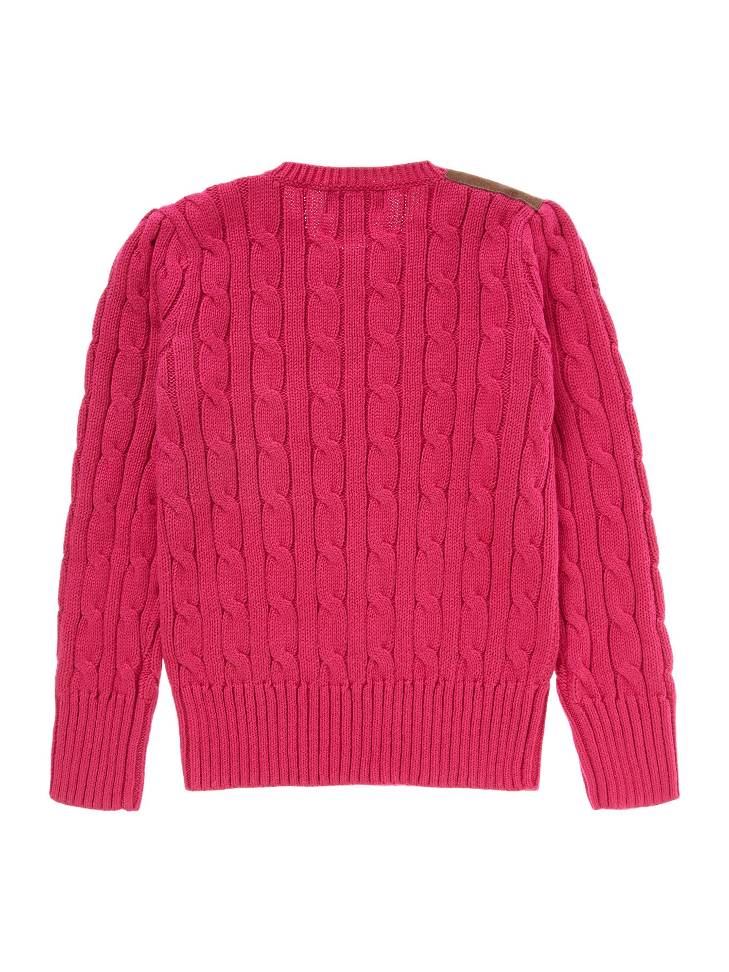 Girl`s cable knit jumper with suede detail