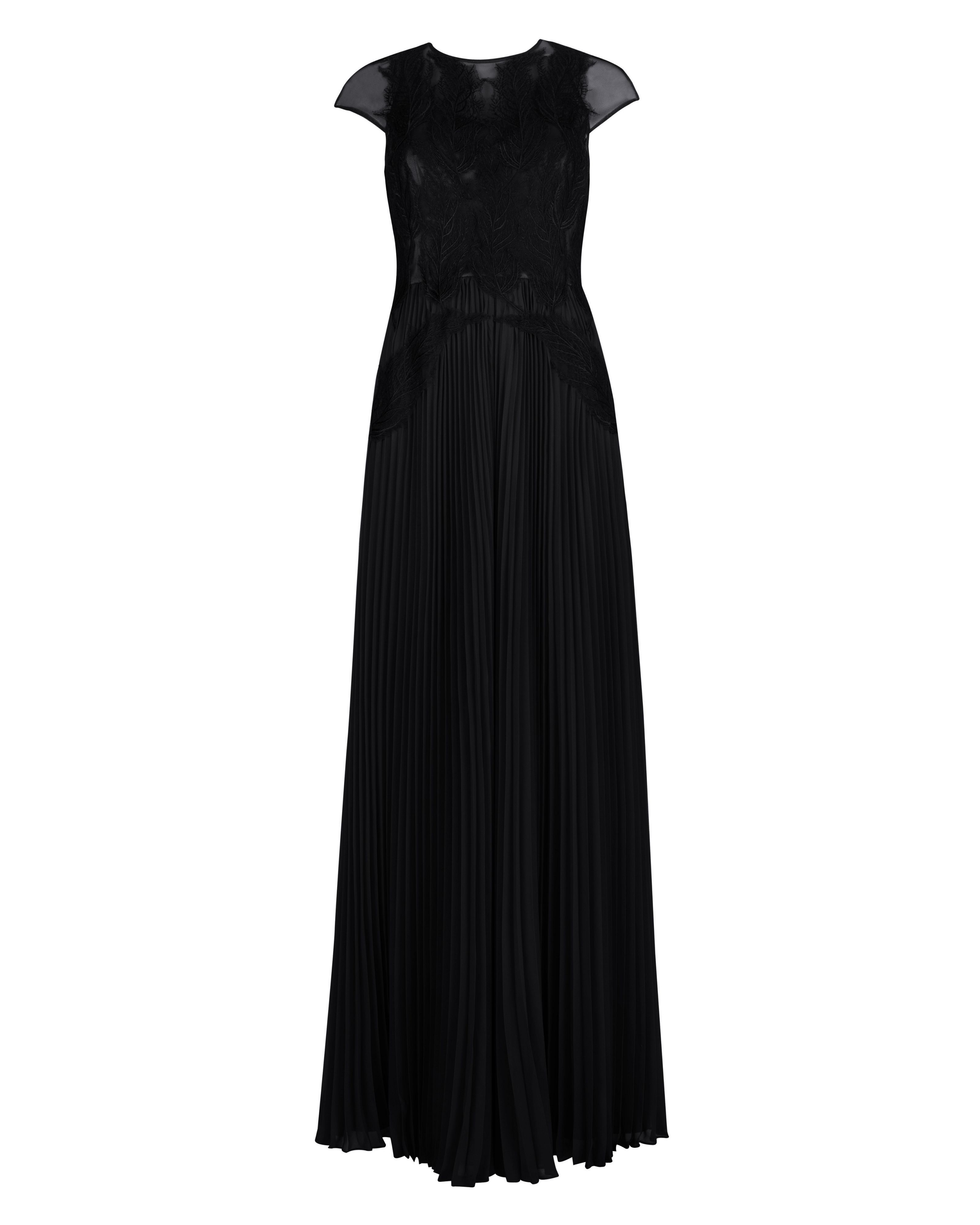 Lumina feather applique maxi dress