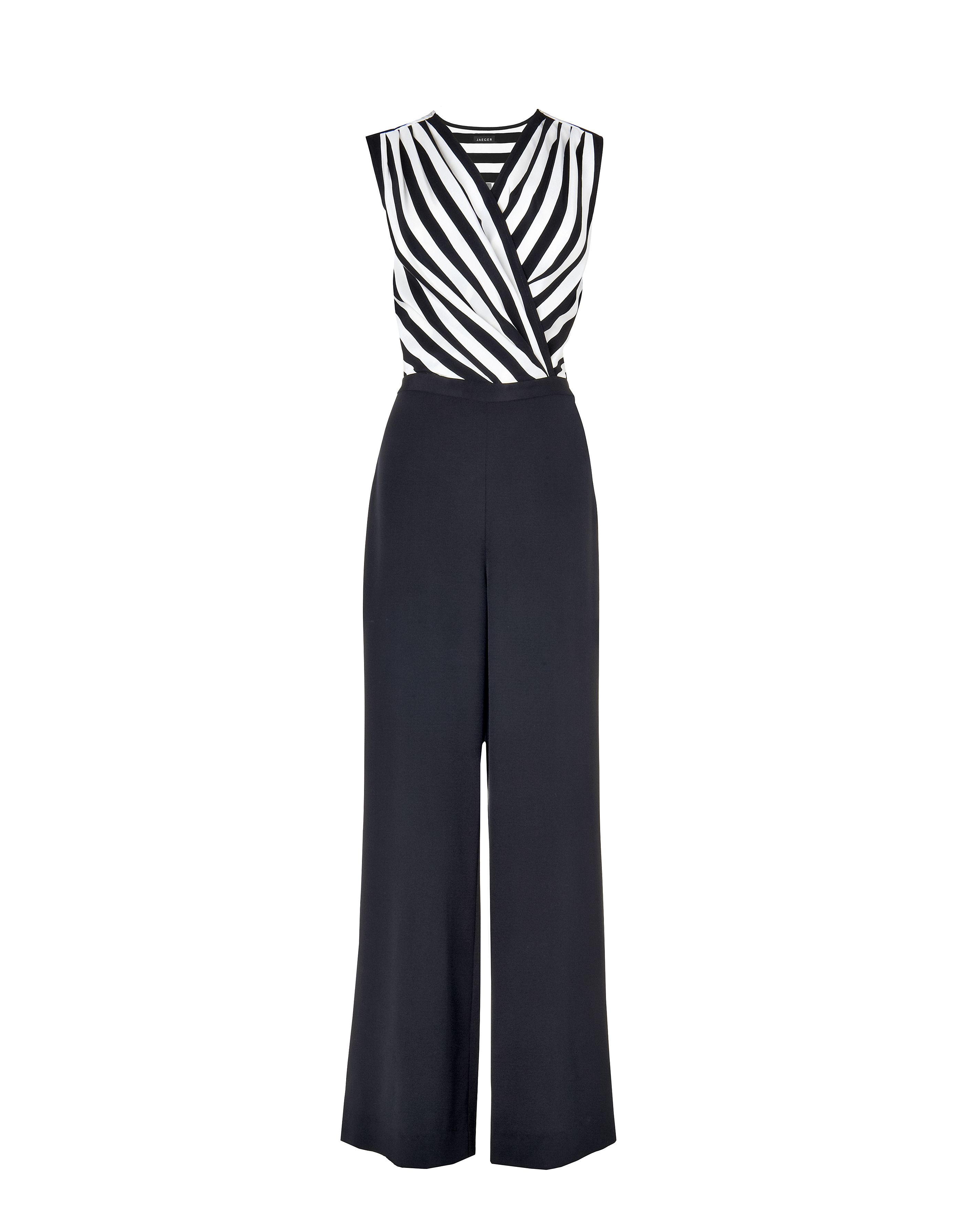 Silk monochrome stripe jumpsuit