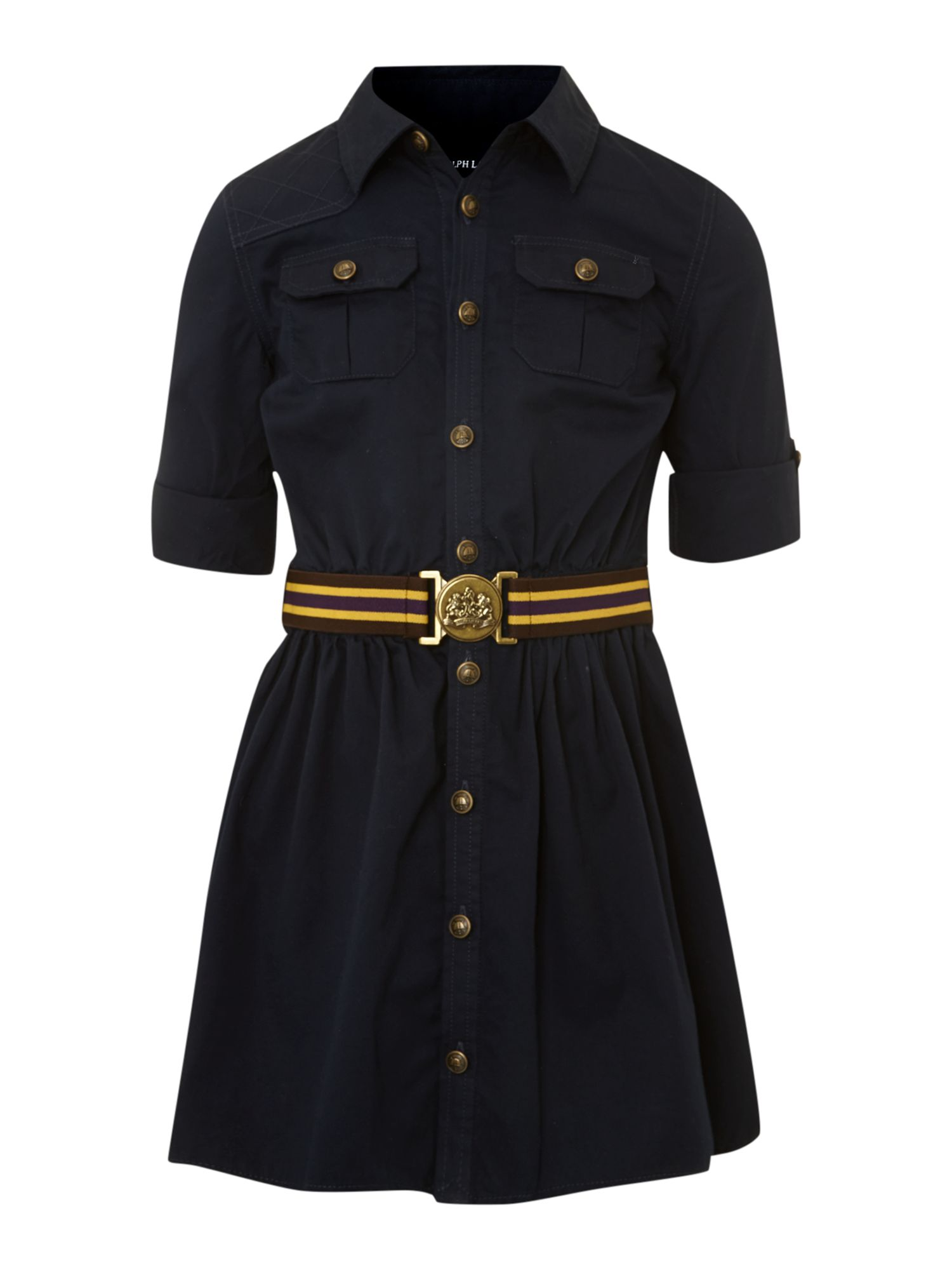 Girl`s belted shirt dress
