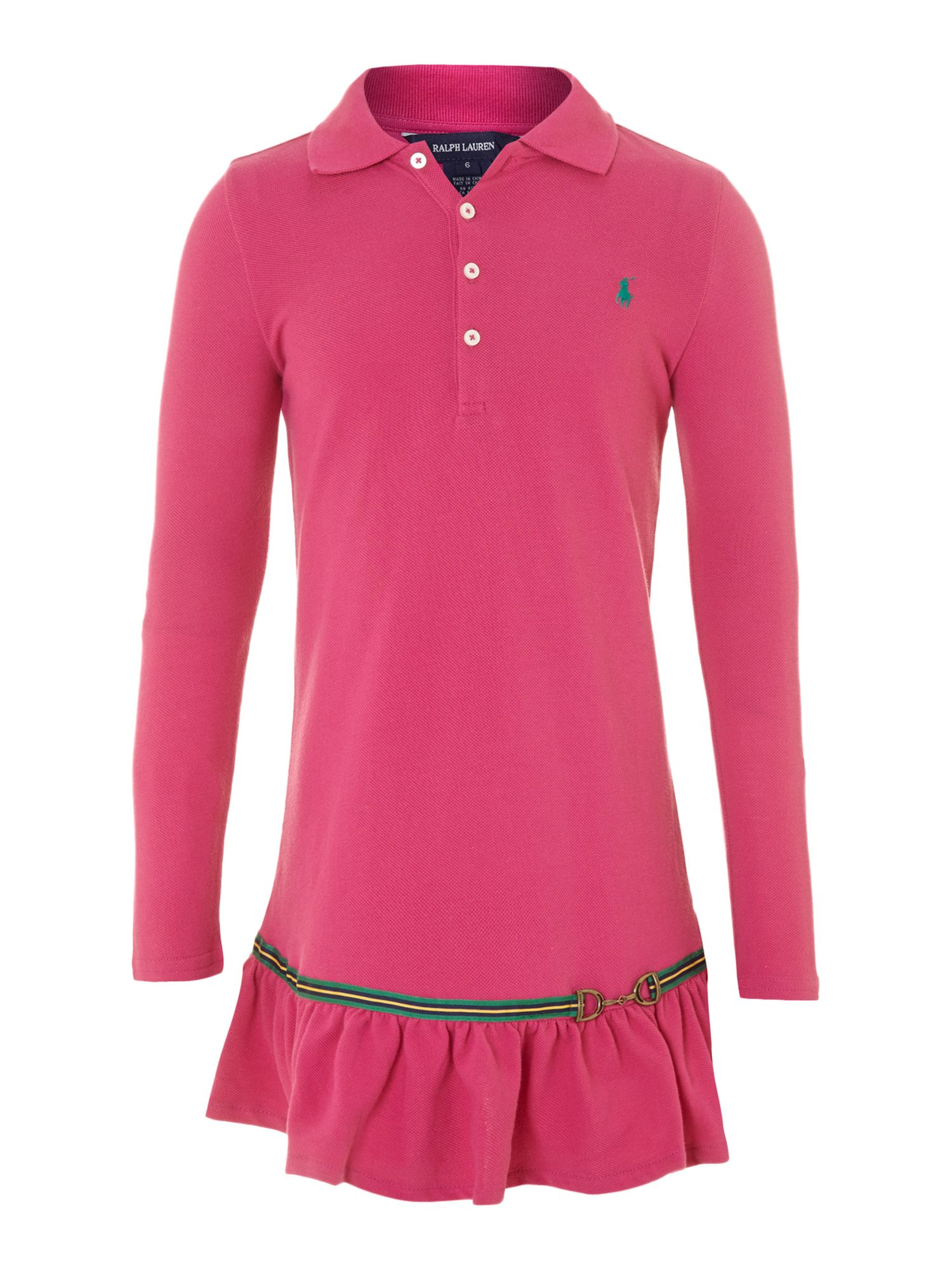 Girl`s polo dress with tape detail