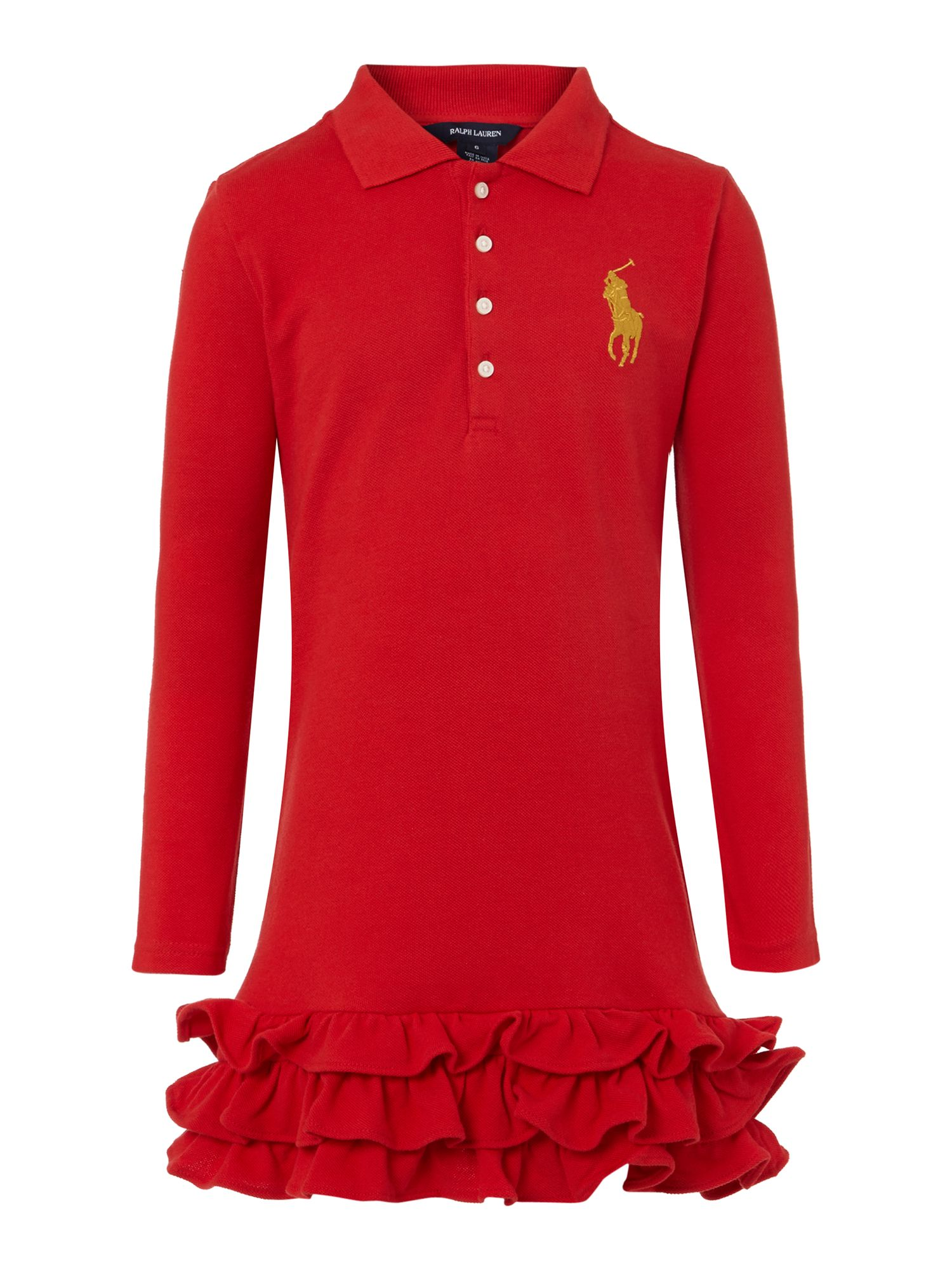 Girl`s polo dress with frill hem detail