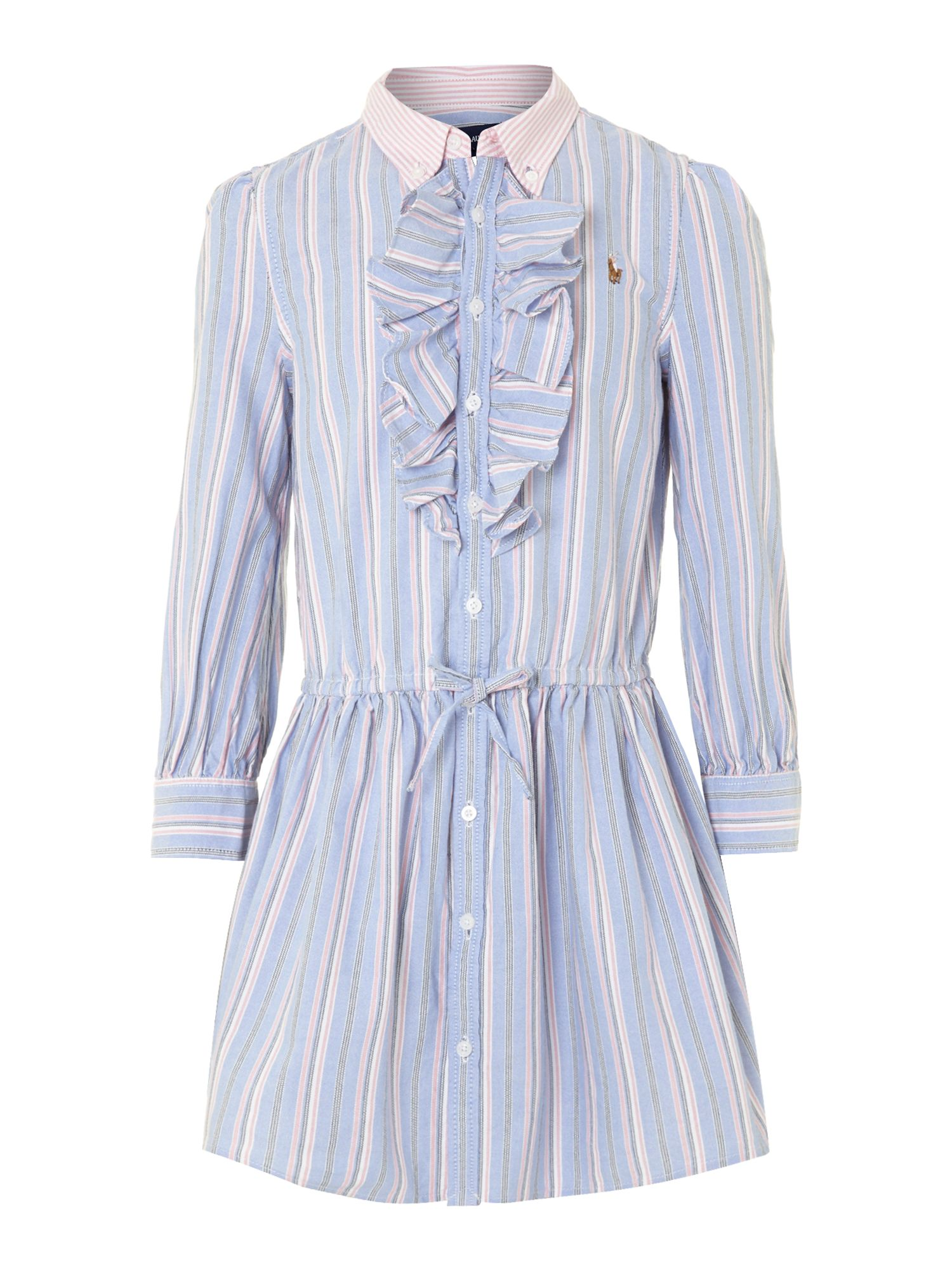 Girl`s oxford stripe shirt dress