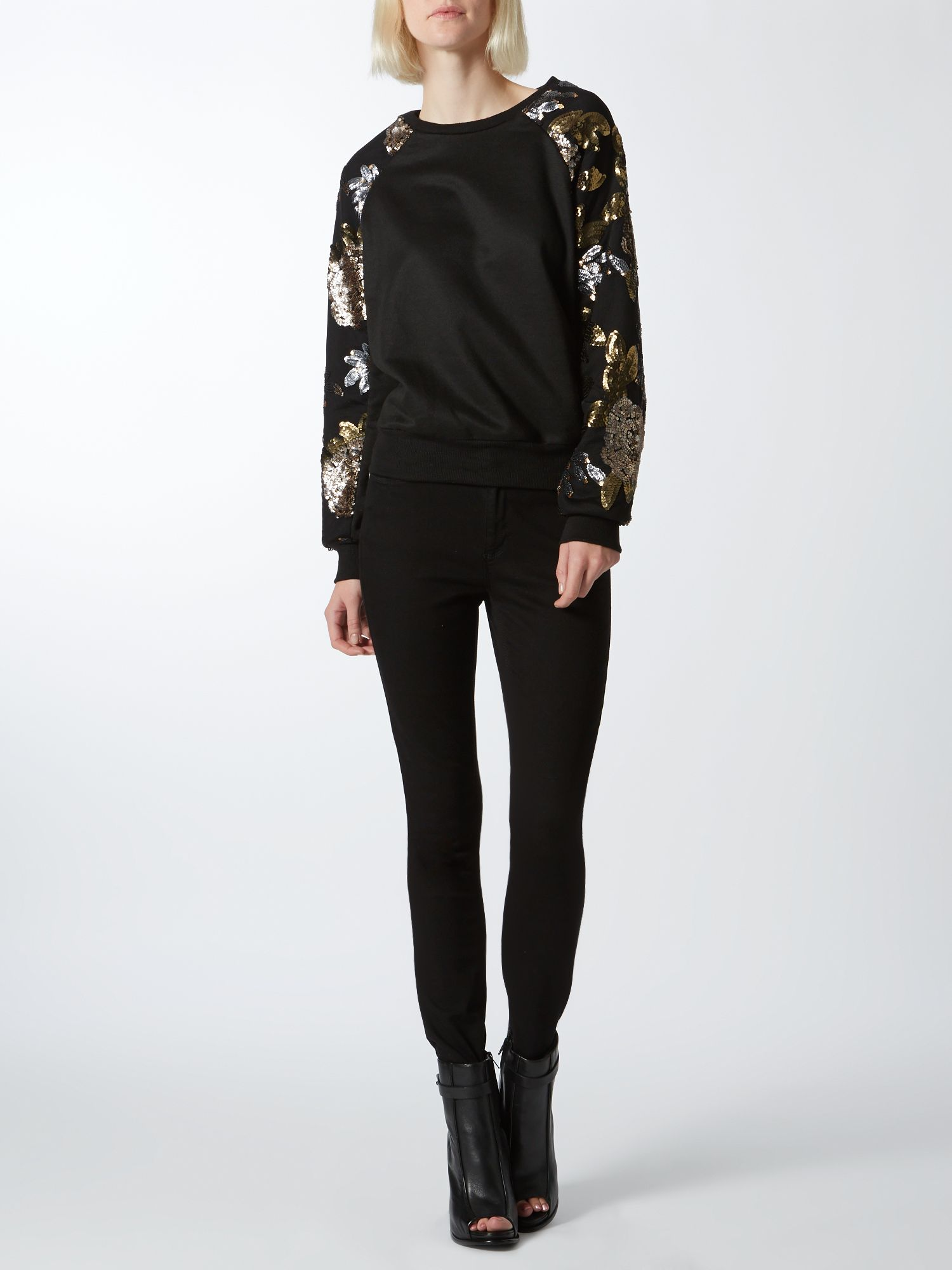 Sequin sleeve sweat