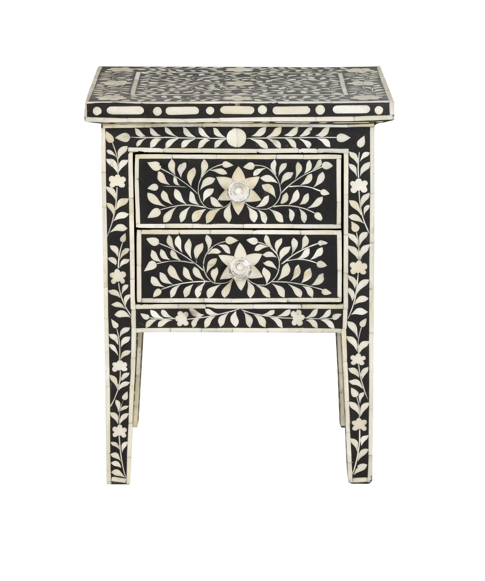 Jasmine black 1 drawer bedside table