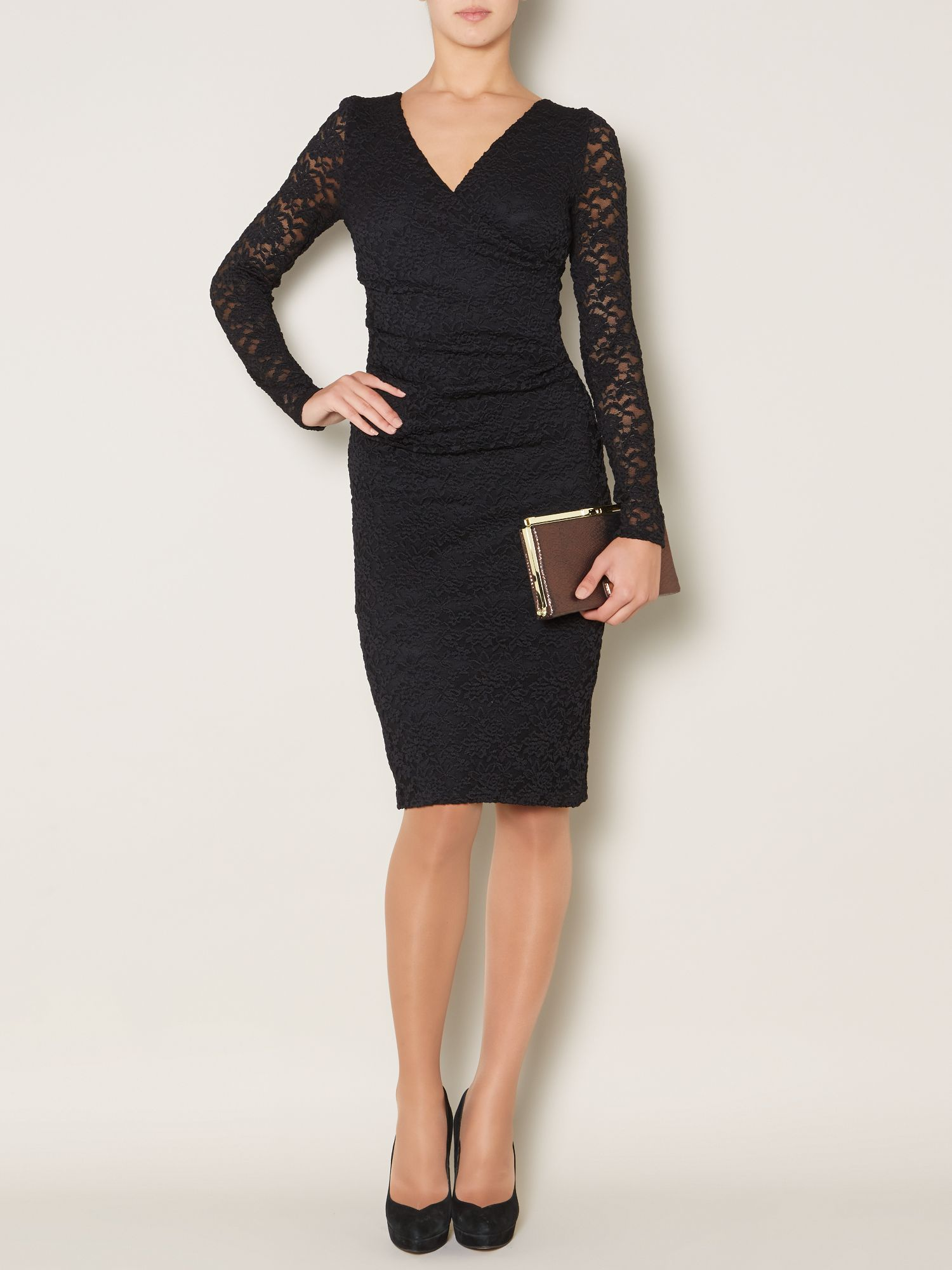 Stretch lace waist ruch detail dress