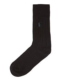 Logo ribbed sock