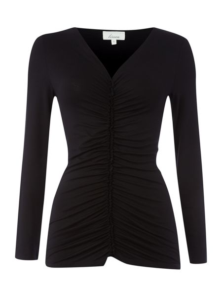 Linea 3/4 Sleeve central ruch detail jersey top