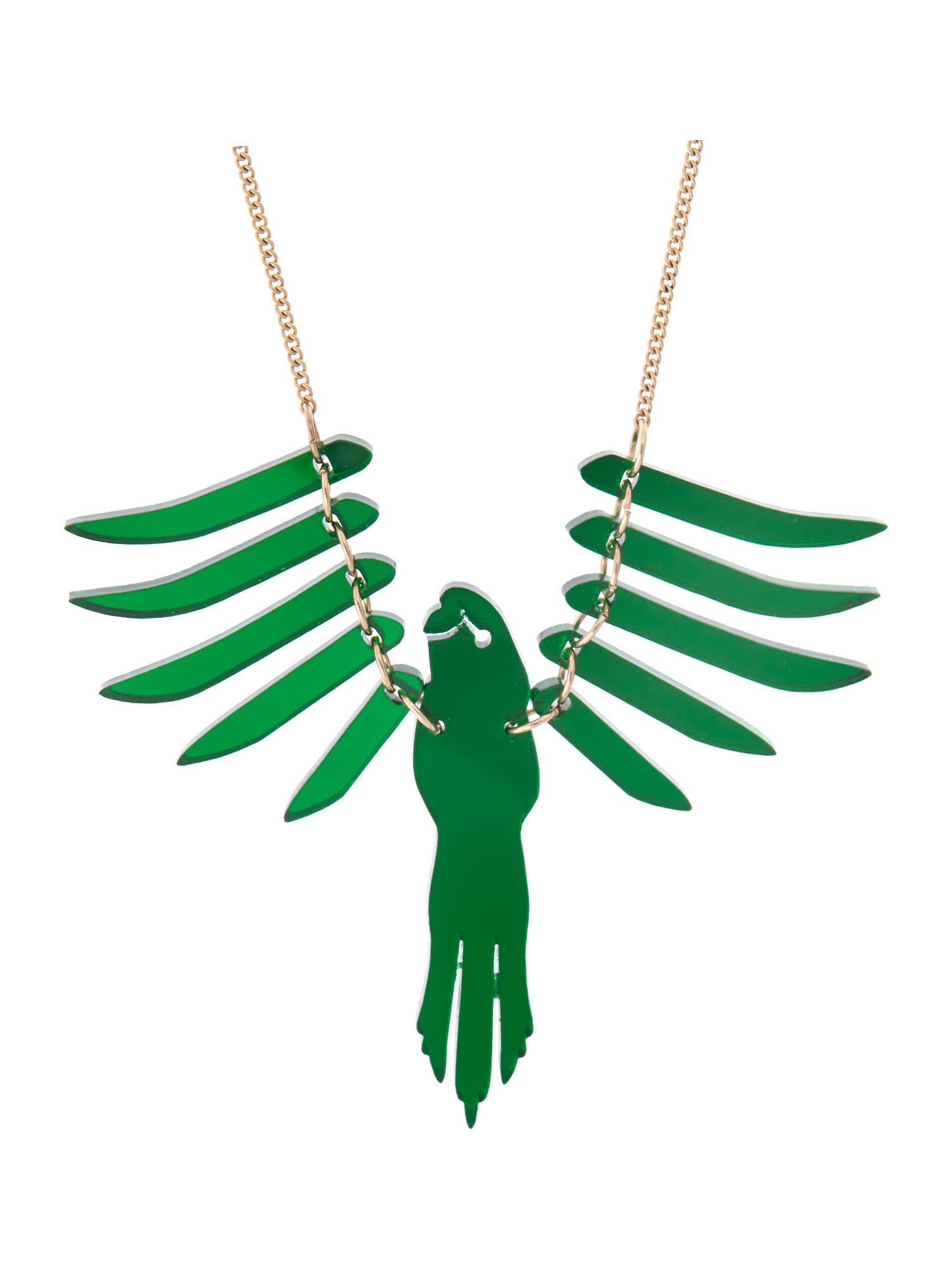 Parakeet necklace - emerald mirror