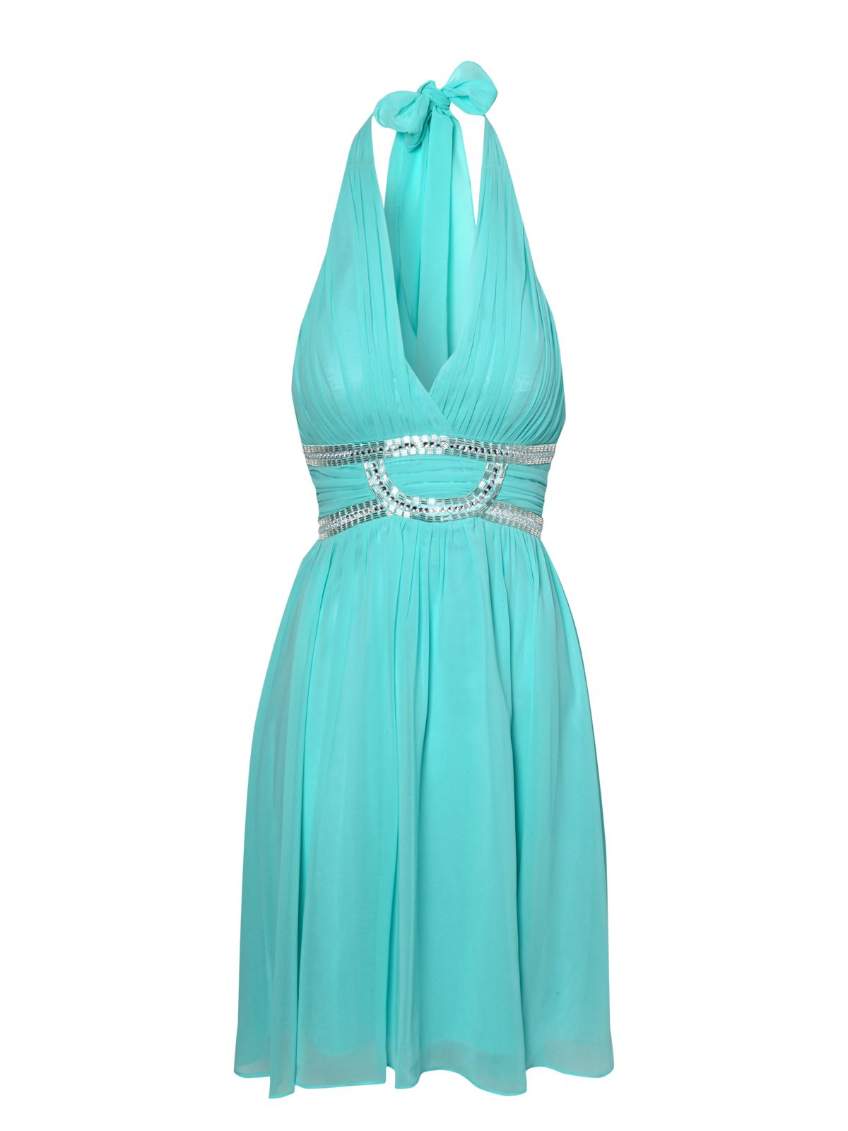 Halter Neck Embellished Prom Dress