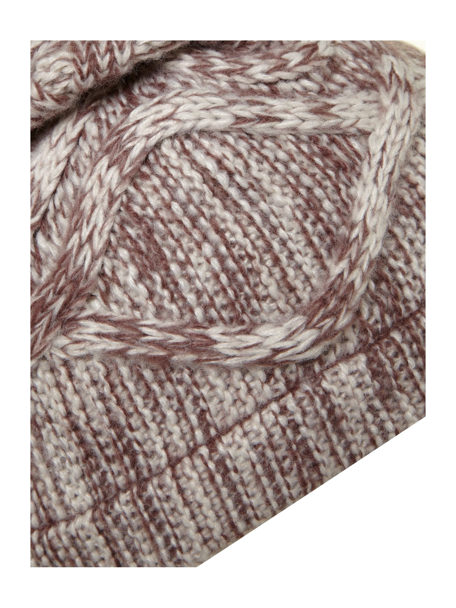 Bicolour cable knit bobble hat