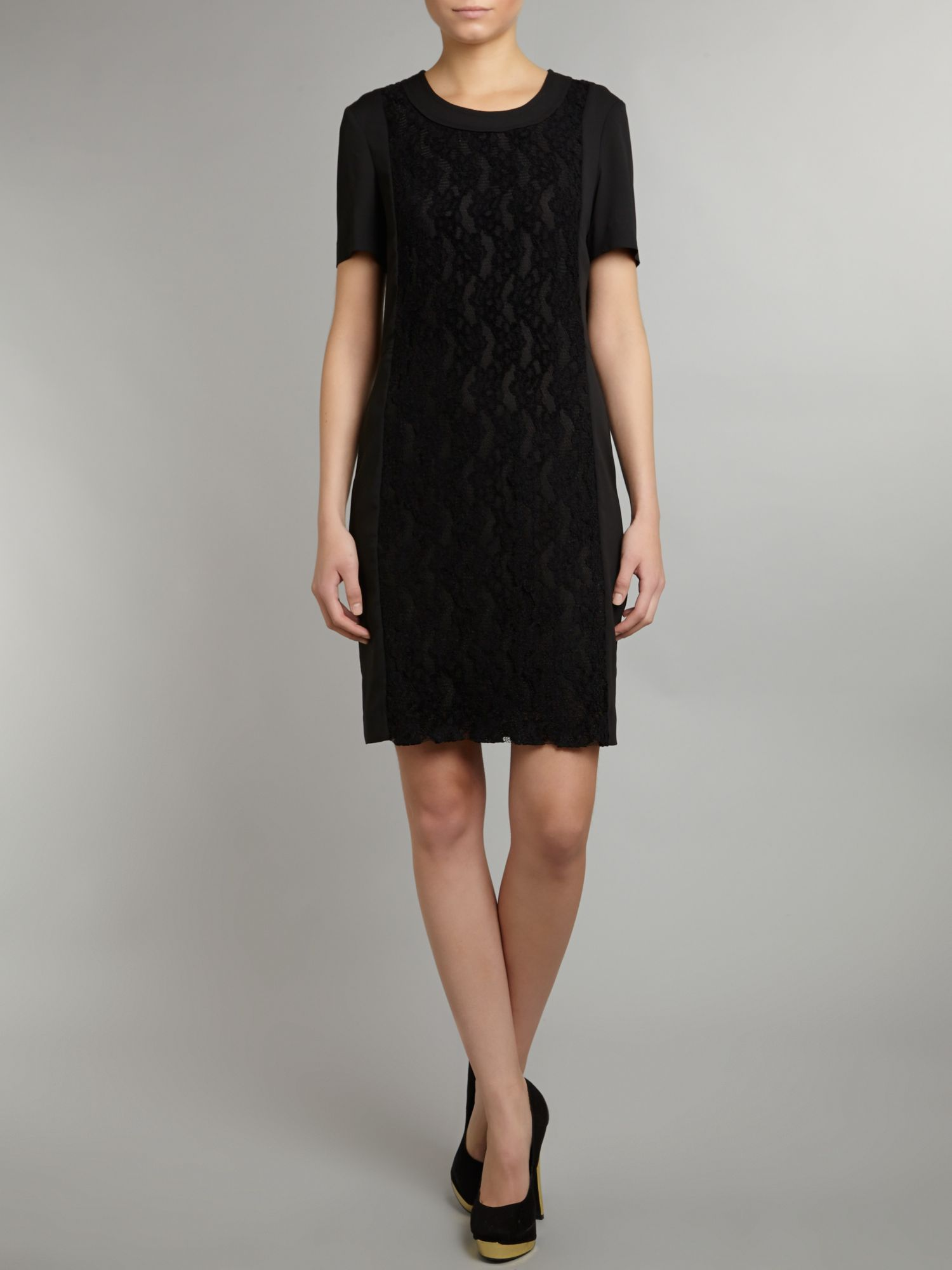 Short sleeve lace panel dress