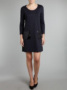 Long sleeve dress with sequin pockets