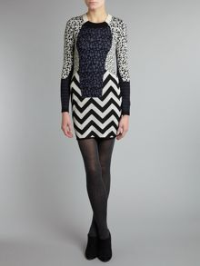 Knitted leopard and zig-zag wool dress