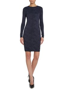 Knitted animal print cashmere dress