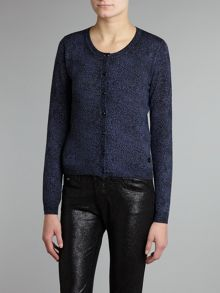 Knitted cashmere animal print cardigan