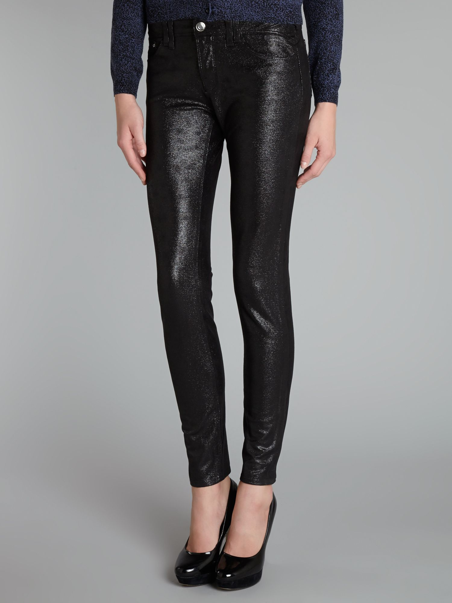 J28 mid-rise super skinny coated jeans