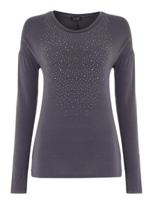 Long sleeve jersey top with diamantes