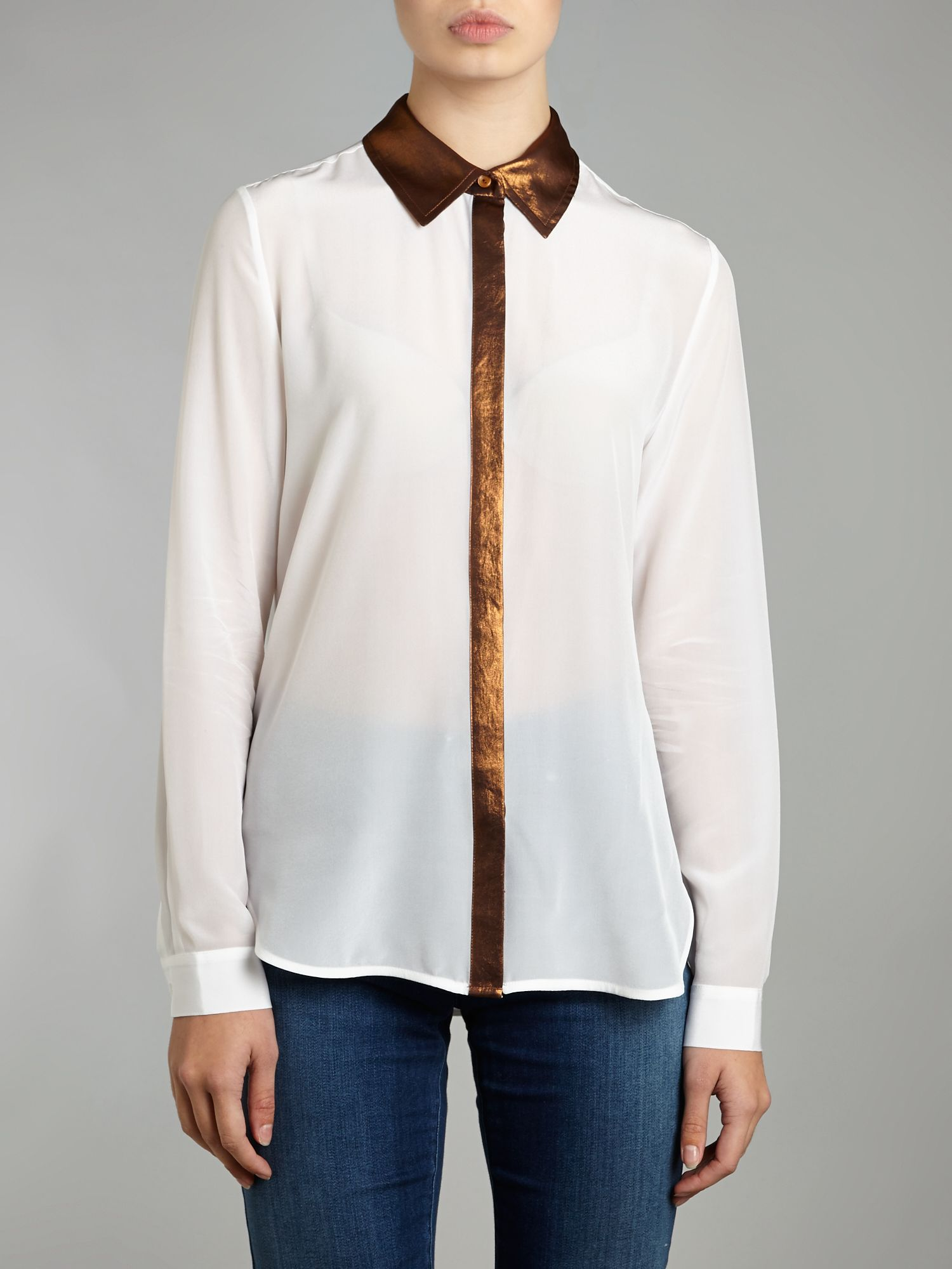 Long sleeve silk blouse with metallic trim