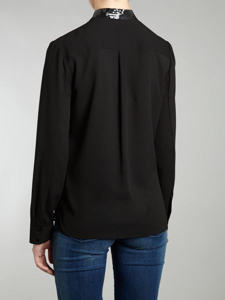 Armani Jeans Pussy bow sequin trim blouse