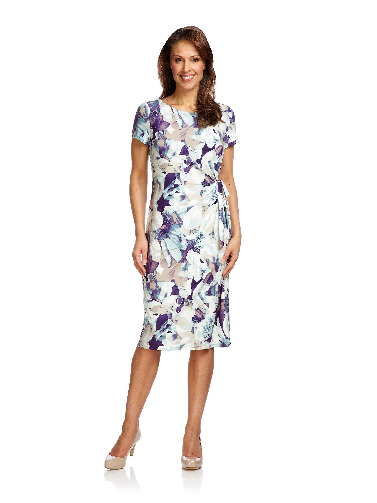 Photographic floral jersey dress
