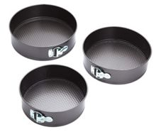 Three piece non stick spring cake tin set