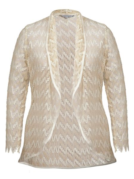 Chesca Lace shrug with satin trim