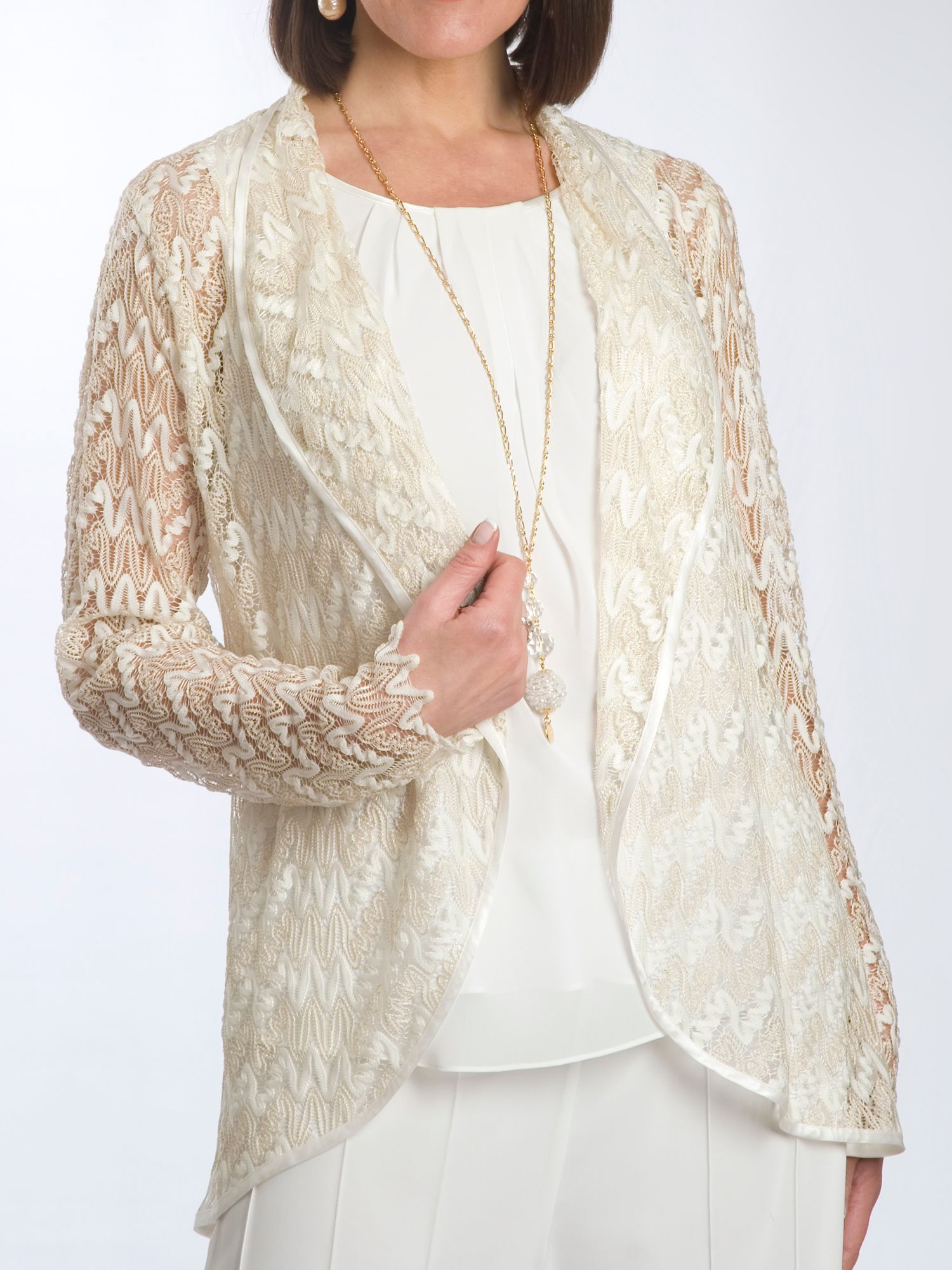 Lace shrug with satin trim