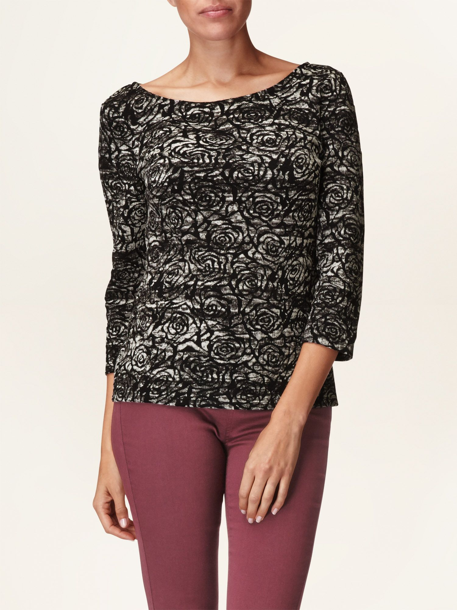 Rose jacquard top