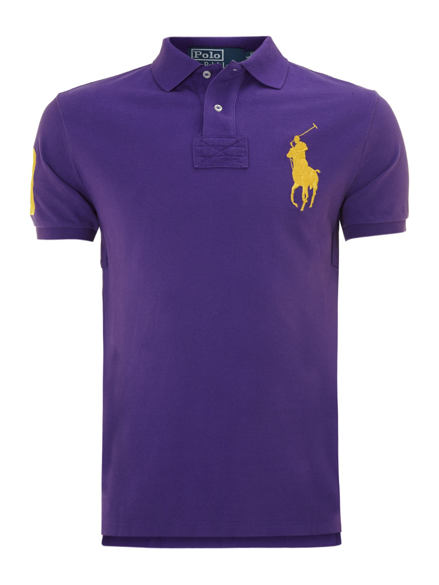Large pony slim fit polo