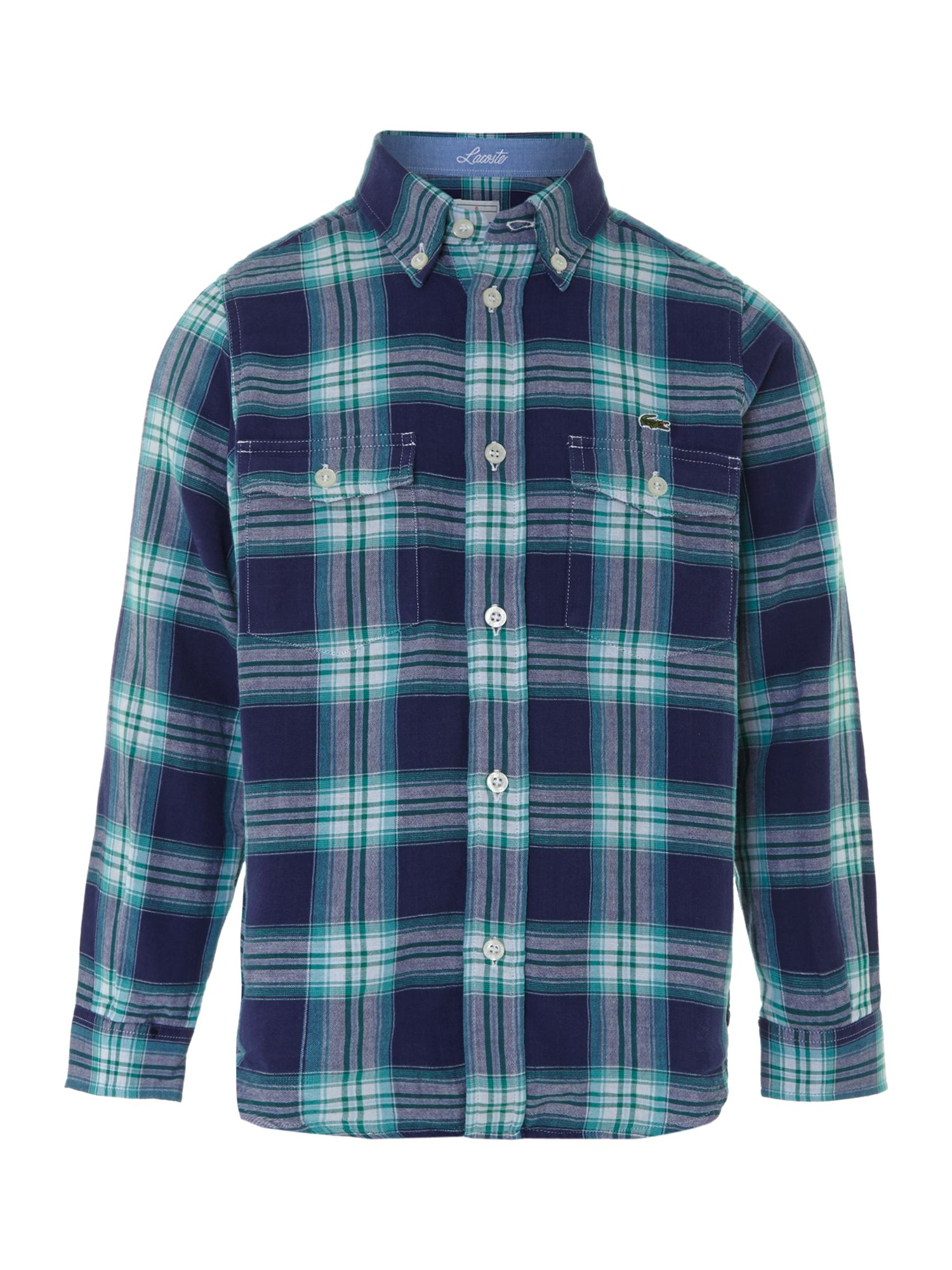 Boy`s check long-sleeved shirt