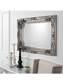 carved louis wall mirror in silver. Black Bedroom Furniture Sets. Home Design Ideas