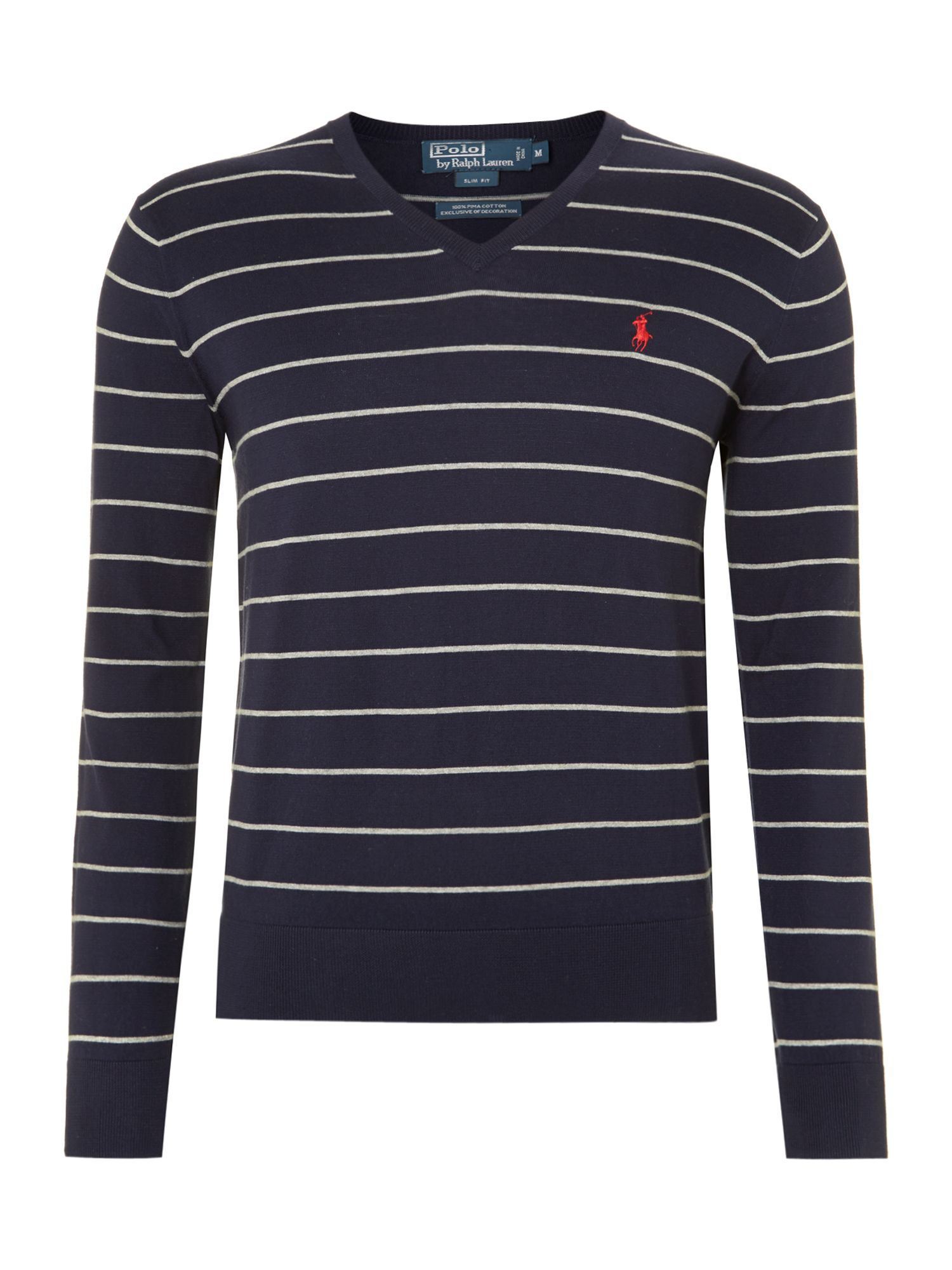 Pima cotton v neck striped jumper