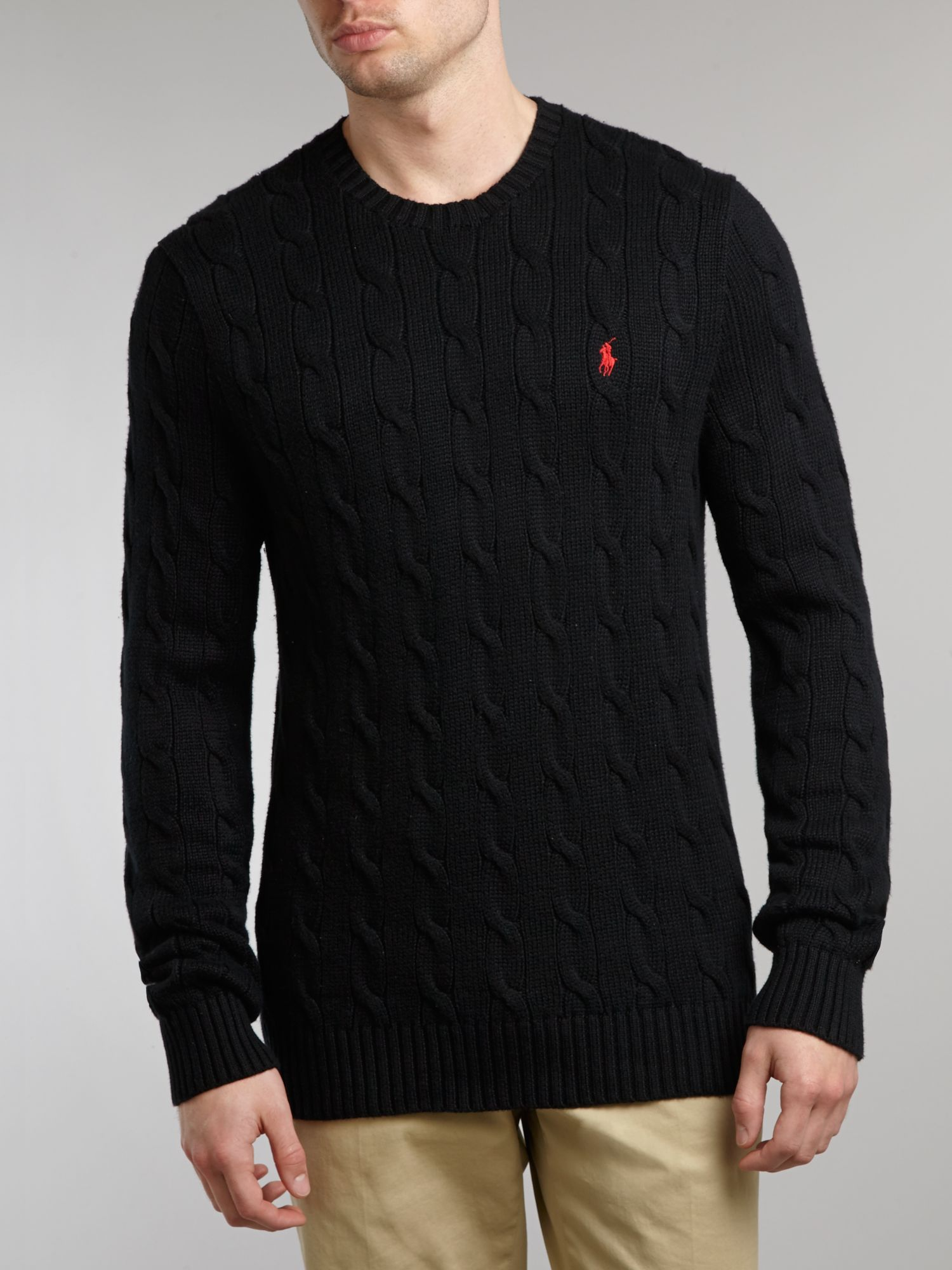 Classic cable knit crew neck jumper